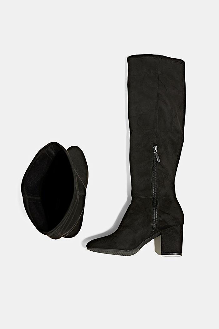 Kniehohe Stiefel in Velourslederoptik, BLACK, detail image number 1