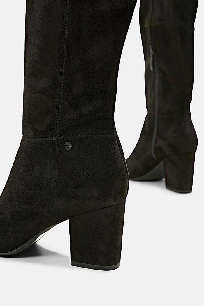Kniehohe Stiefel in Velourslederoptik, BLACK, detail image number 5