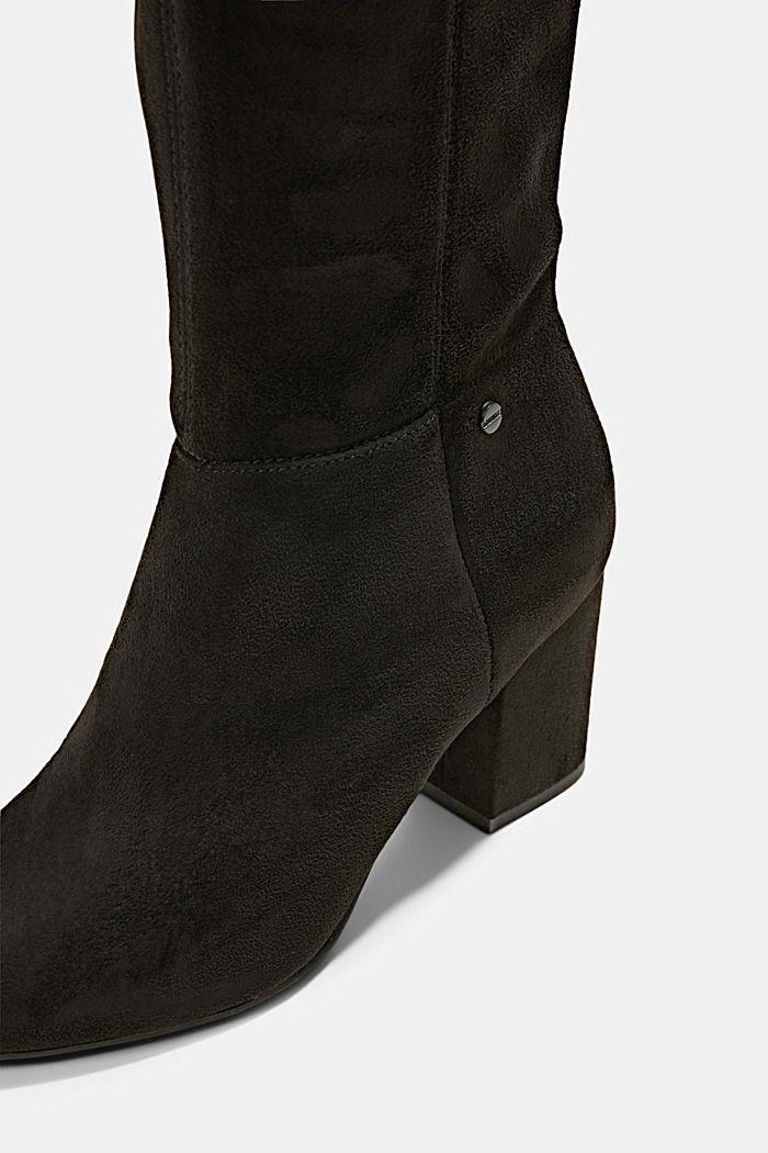 Kniehohe Stiefel in Velourslederoptik, BLACK, detail image number 4