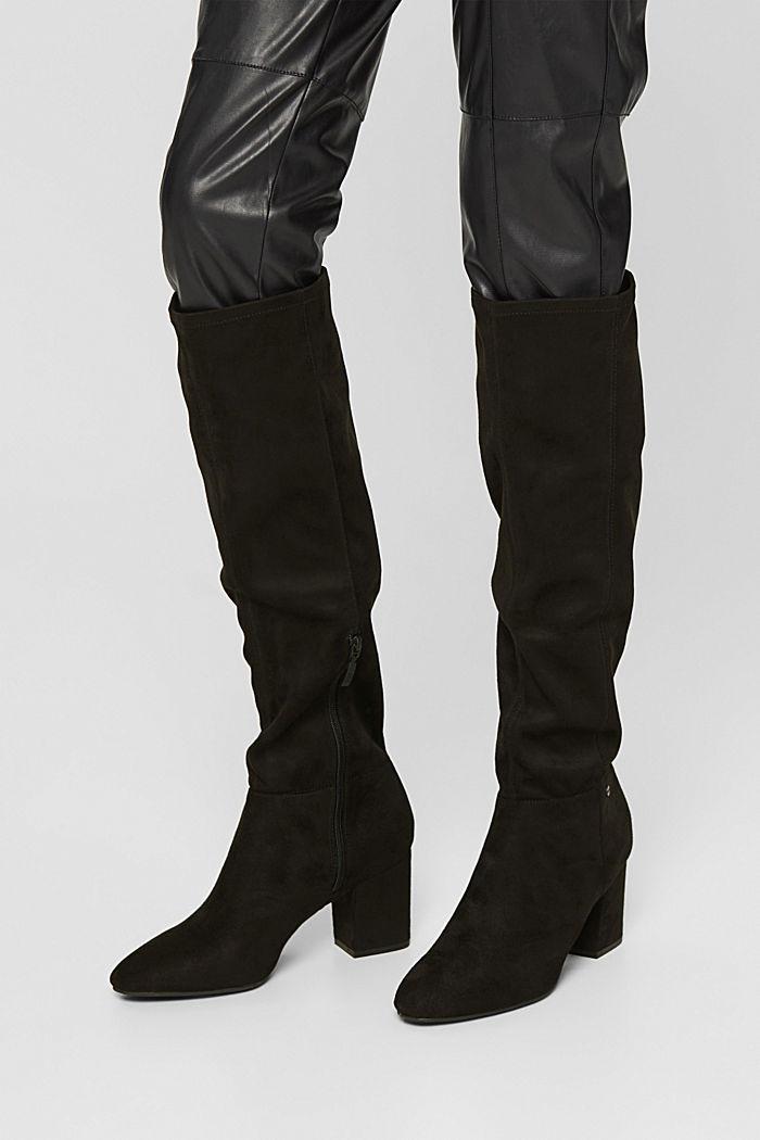 Kniehoge laarzen van imitatiesuède
