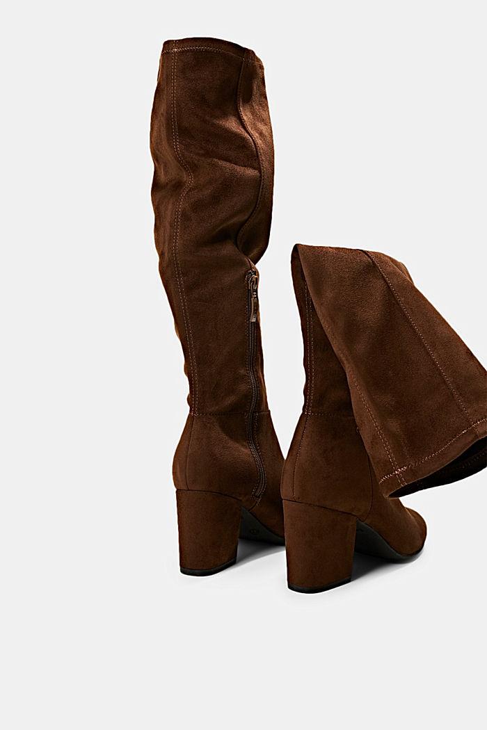 Kniehoge laarzen van imitatiesuède, BROWN, detail image number 5