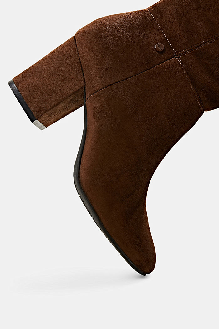 Kniehoge laarzen van imitatiesuède, BROWN, detail image number 4