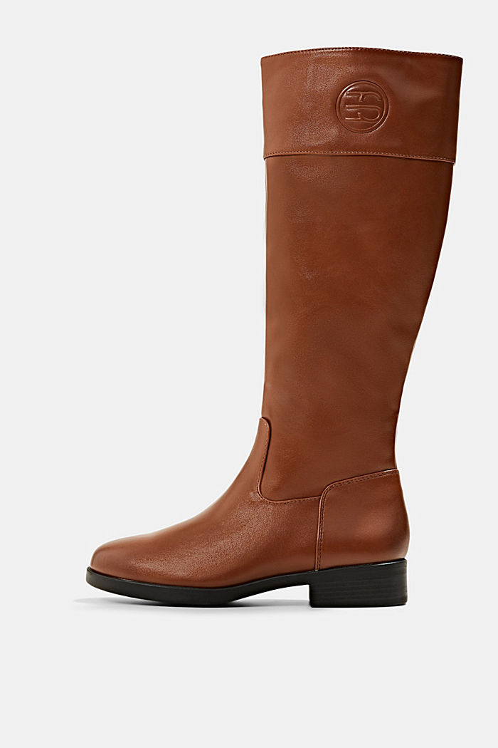 Knee-high boots in faux leather