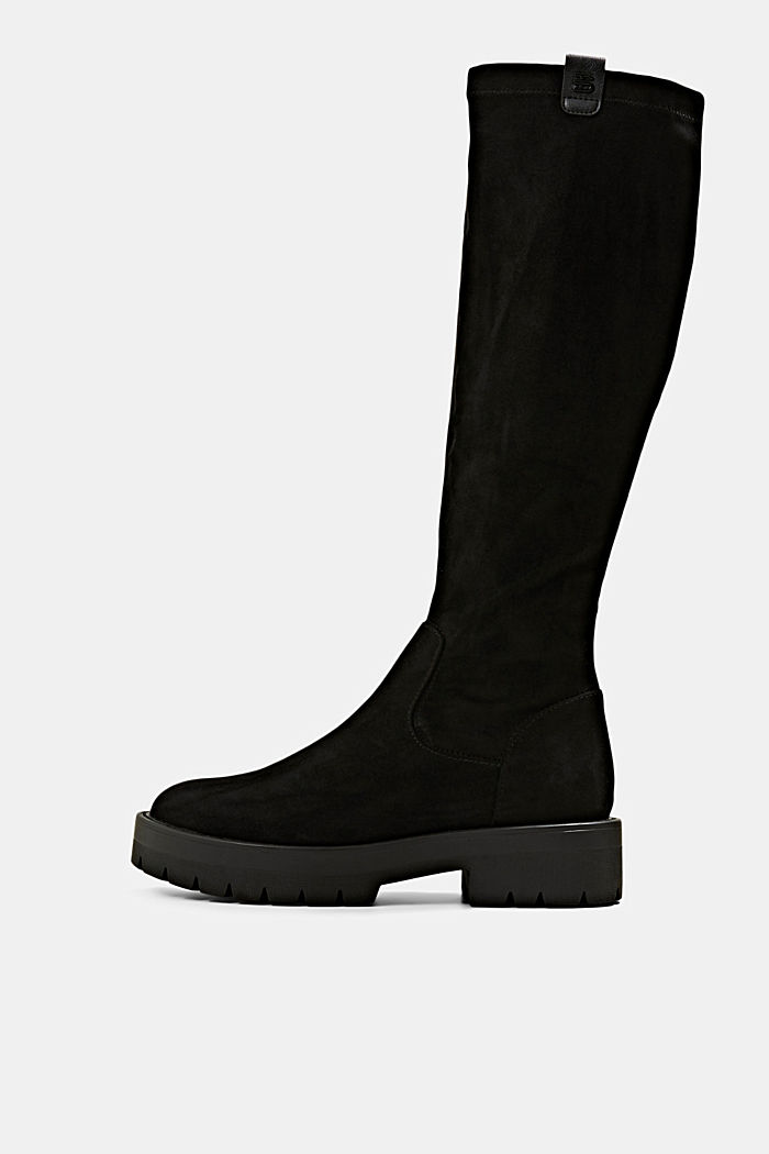 Knee-high boots in faux suede