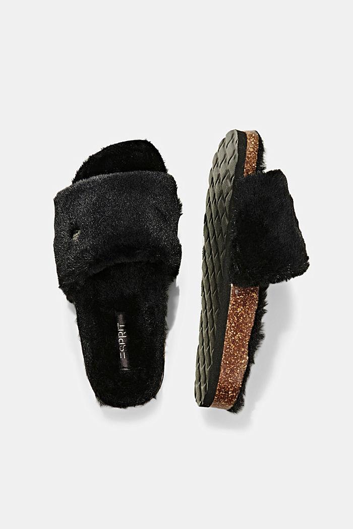 Pantoletten mit Plüsch, BLACK, detail image number 1