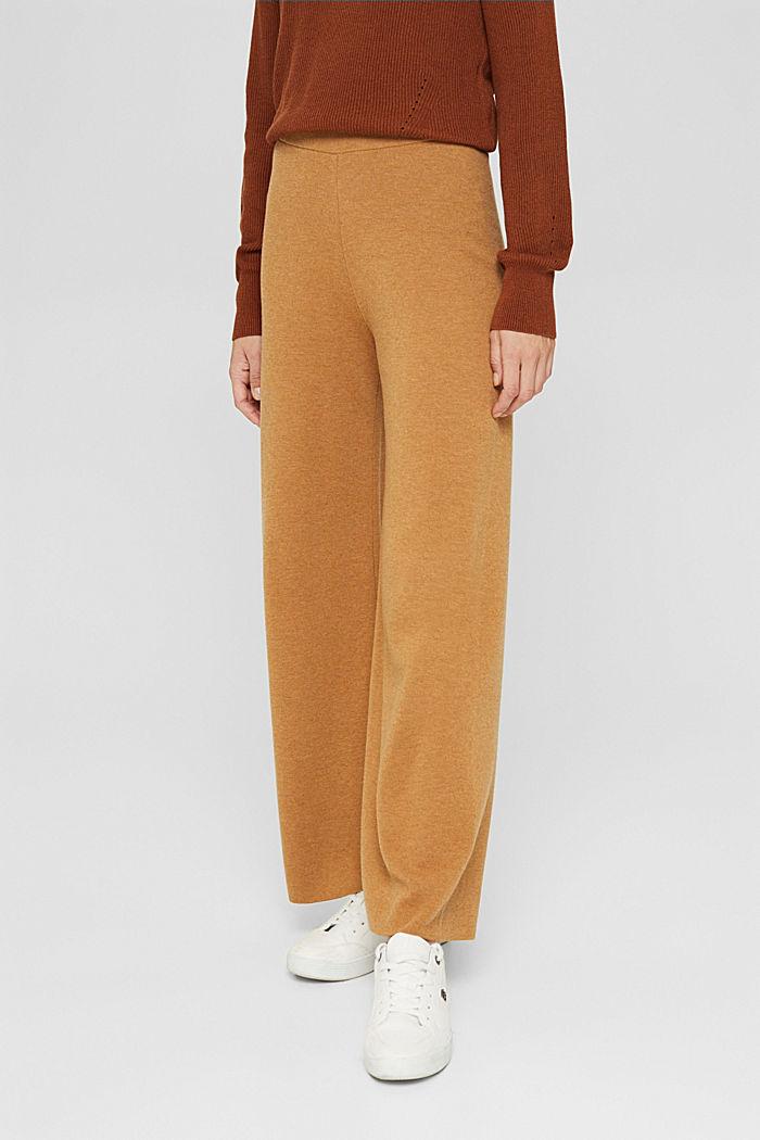 Pantalon à jambes larges en jersey gratté