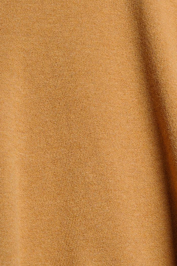 Broek van geruwde jersey met wijde pijpen, CARAMEL, detail image number 4