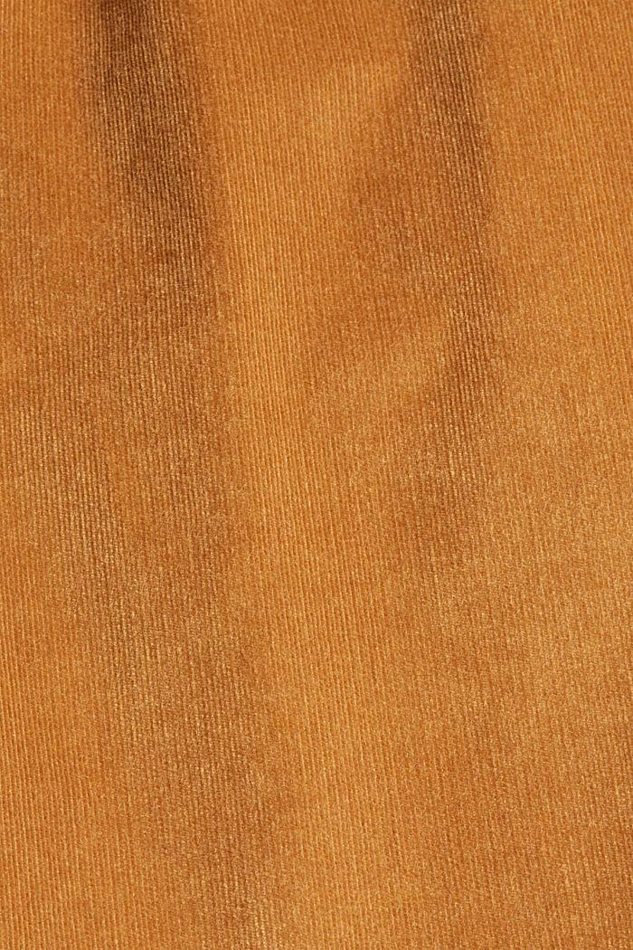Broek met hoge taille van glanzend corduroy met stretch, CARAMEL, detail image number 4