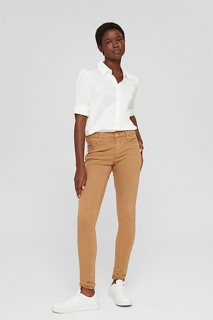 Colored Stretch-Jeans aus Bio-Baumwolle, CARAMEL, detail image number 5