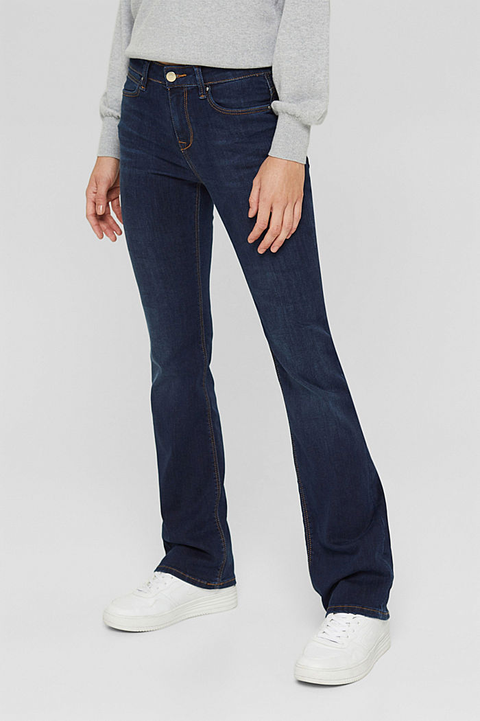 Bootcut jeans van een mix met biologisch katoen, BLUE DARK WASHED, detail image number 0