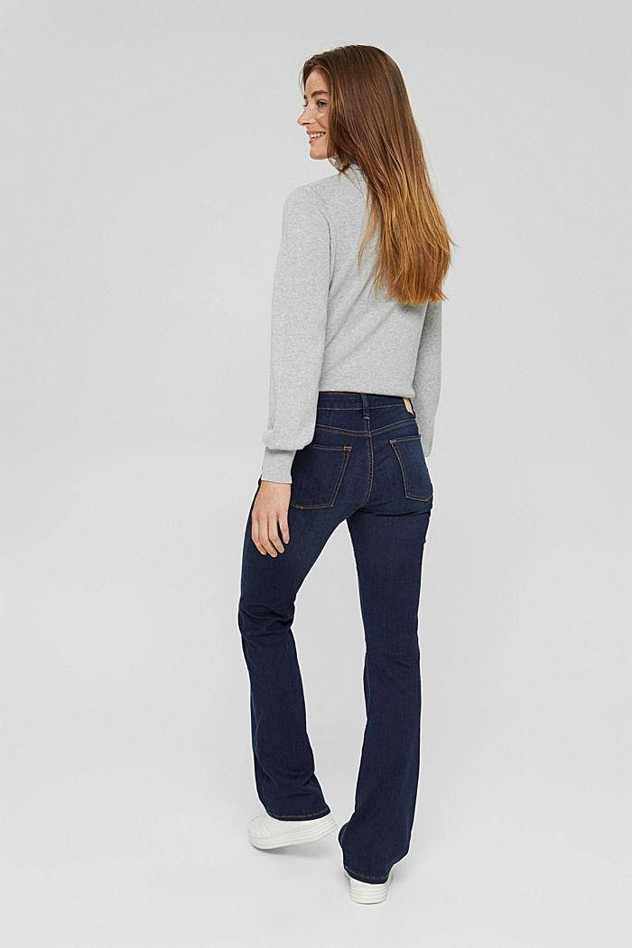 Bootcut jeans van een mix met biologisch katoen, BLUE DARK WASHED, detail image number 3