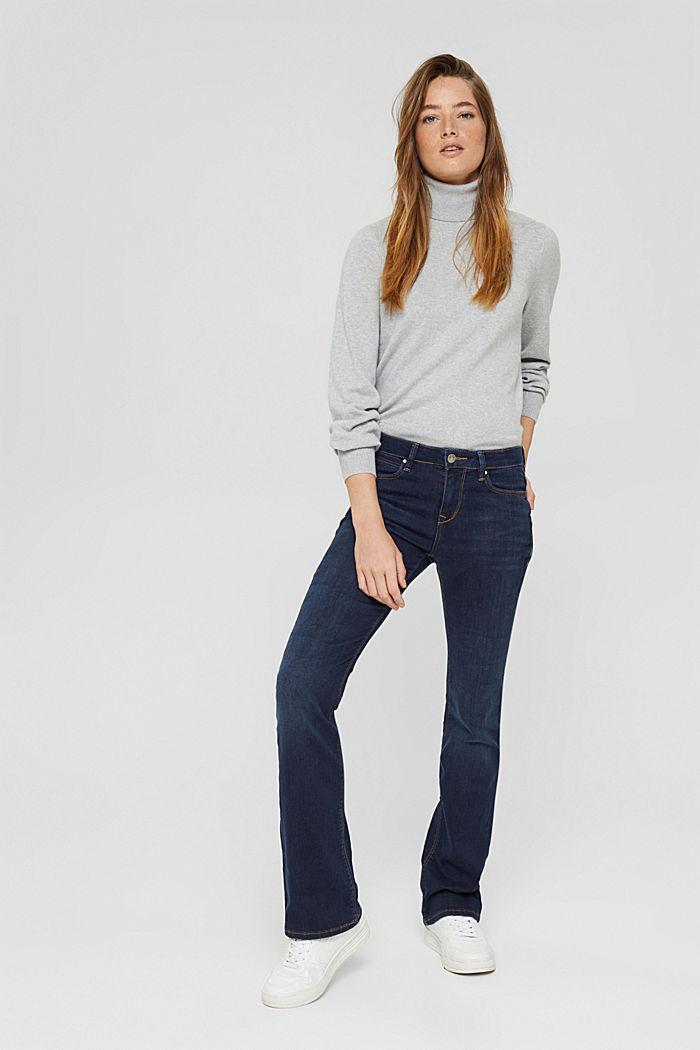 Bootcut jeans van een mix met biologisch katoen, BLUE DARK WASHED, detail image number 5
