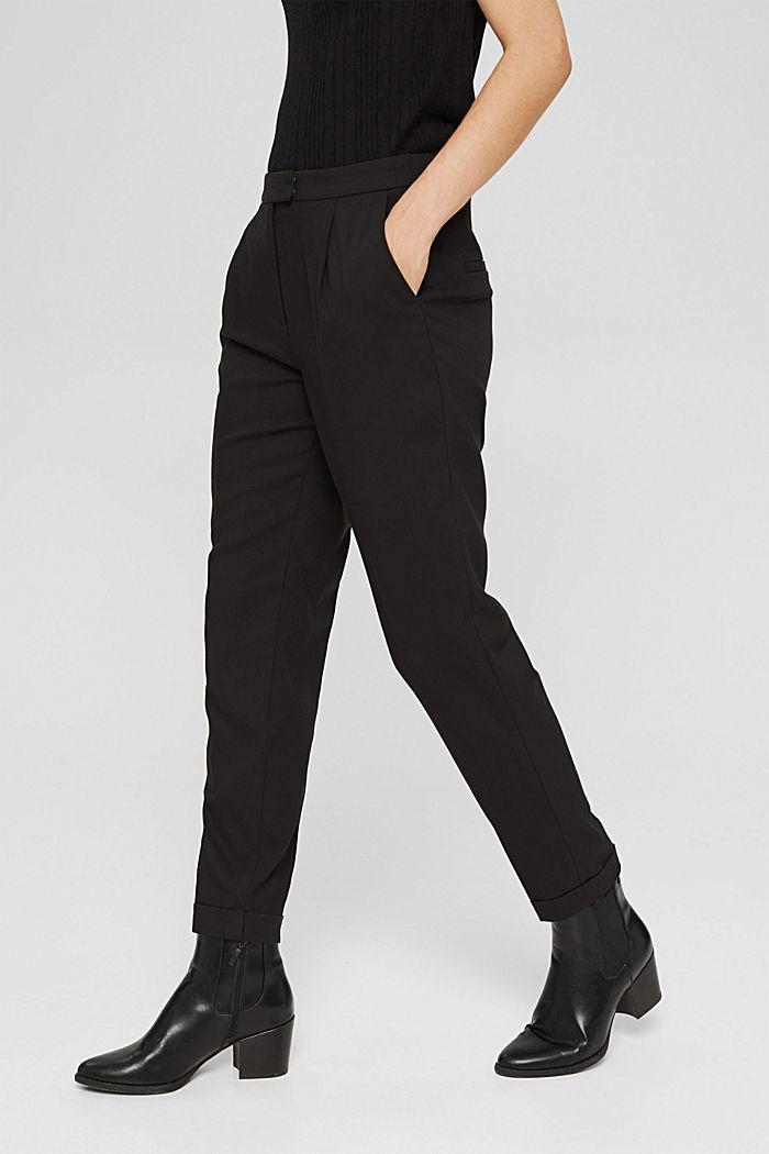 Broek met een hoge taille, zachte touch en persplooien, BLACK, detail image number 0