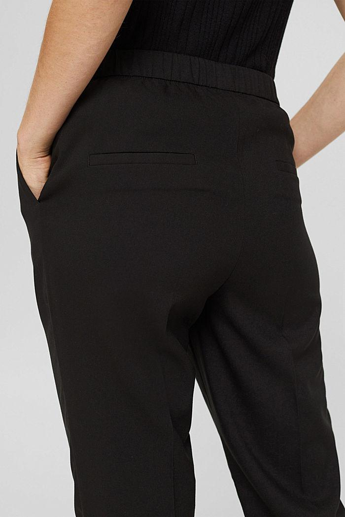 Broek met een hoge taille, zachte touch en persplooien, BLACK, detail image number 2