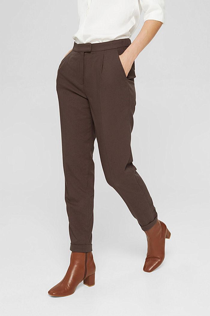Pantalon taille haute doux au toucher, agrémenté de plis de repassage permanents, DARK BROWN, detail image number 0