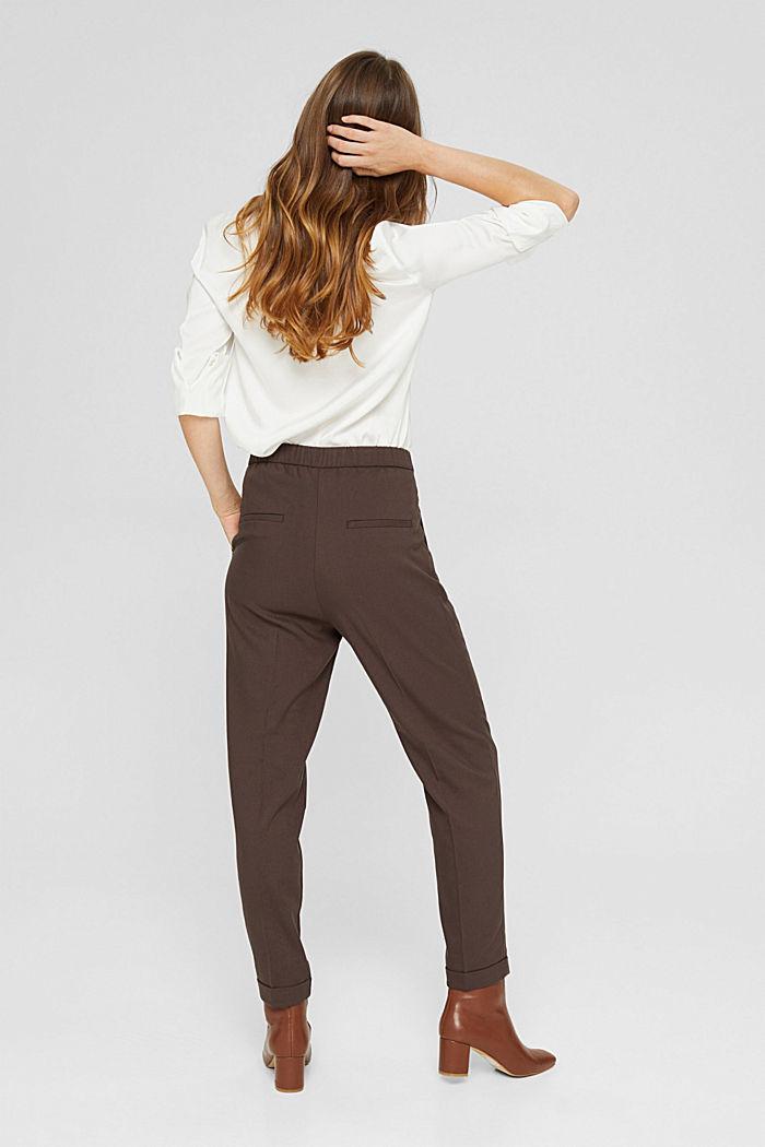 Pantalon taille haute doux au toucher, agrémenté de plis de repassage permanents, DARK BROWN, detail image number 3