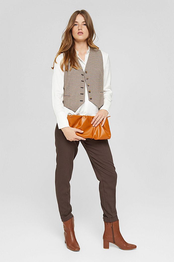 Pantalon taille haute doux au toucher, agrémenté de plis de repassage permanents, DARK BROWN, detail image number 1
