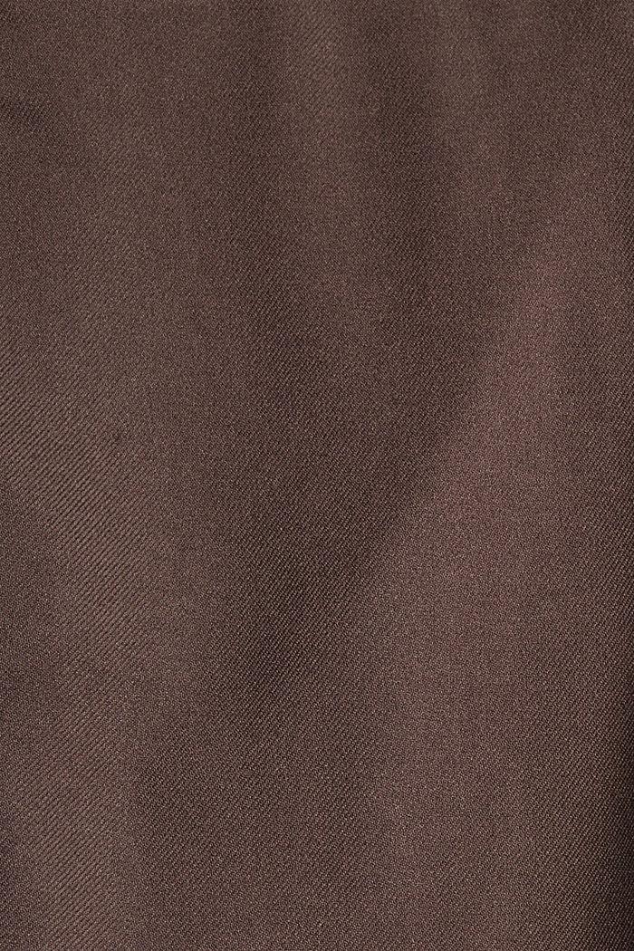 Pantalon taille haute doux au toucher, agrémenté de plis de repassage permanents, DARK BROWN, detail image number 4