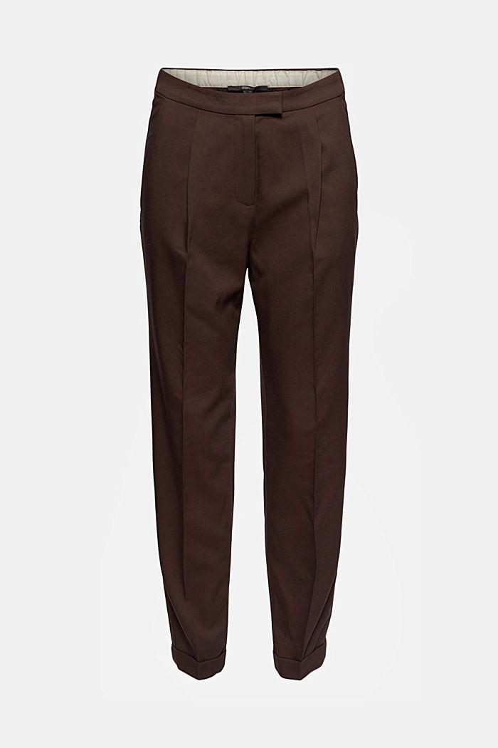 Pantalon taille haute doux au toucher, agrémenté de plis de repassage permanents, DARK BROWN, detail image number 5