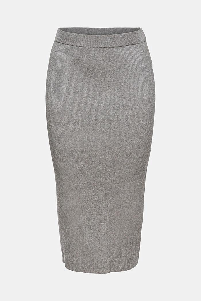 Jupe crayon longueur midi en jersey côtelé