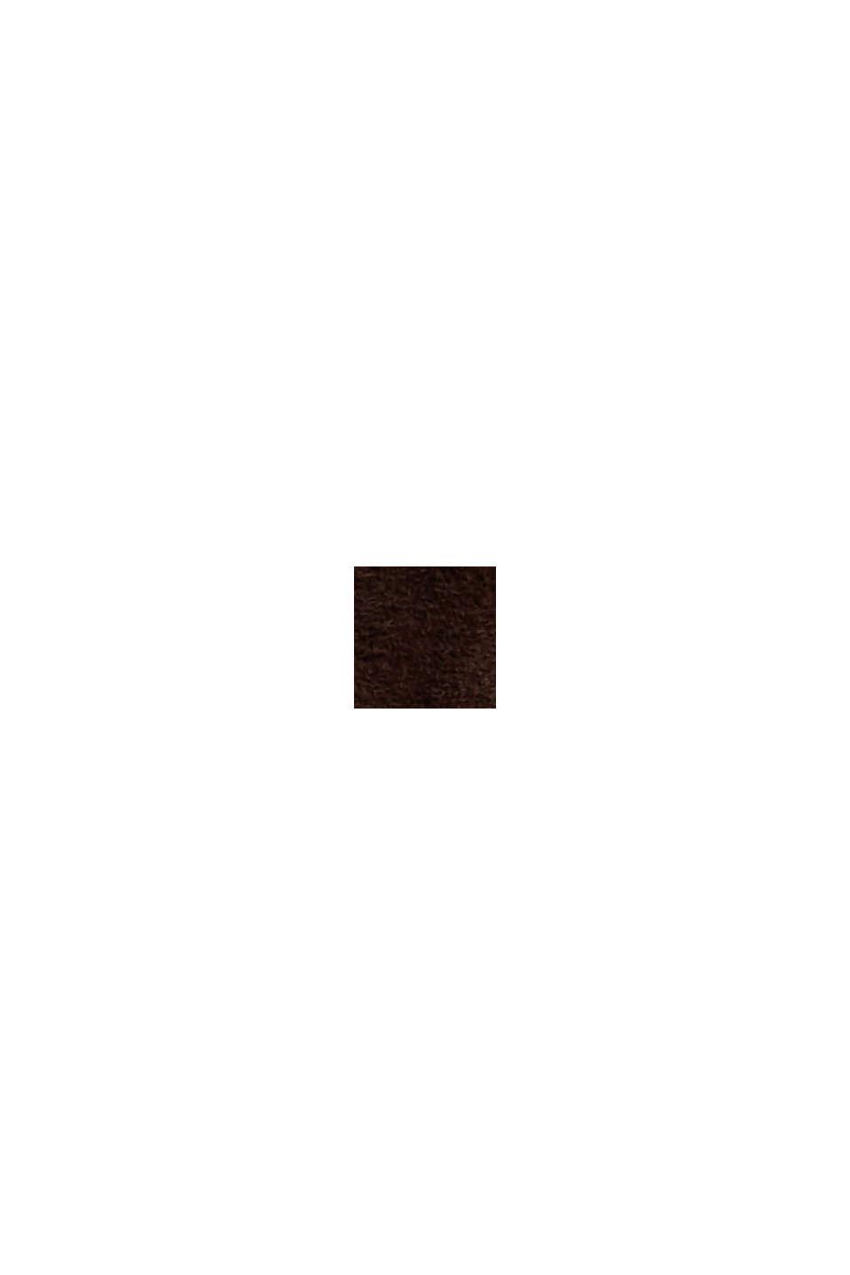 Midirock in A-Linie aus 100% Rauleder, DARK BROWN, swatch