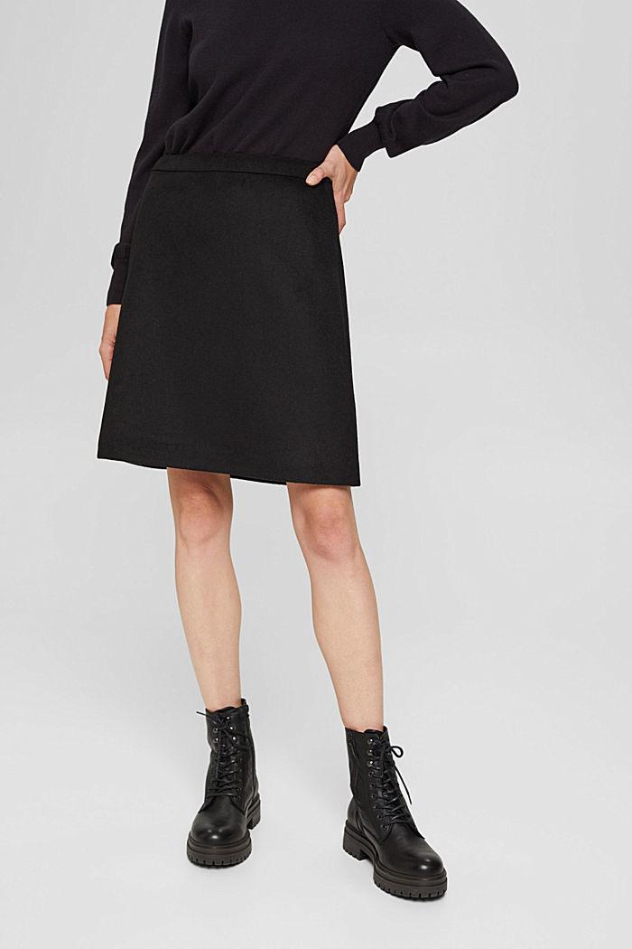 À teneur en laine: la jupe de coupe évasée, BLACK, detail image number 0