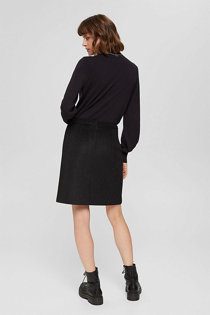 À teneur en laine: la jupe de coupe évasée, BLACK, detail image number 3