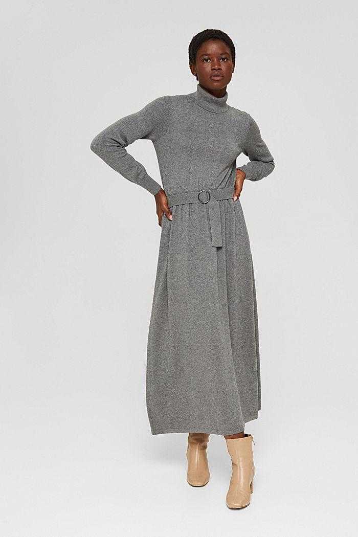 À teneur en cachemire et en laine: la robe maxi longueur en fine maille, GUNMETAL, detail image number 0