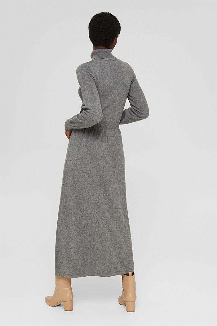 À teneur en cachemire et en laine: la robe maxi longueur en fine maille, GUNMETAL, detail image number 2