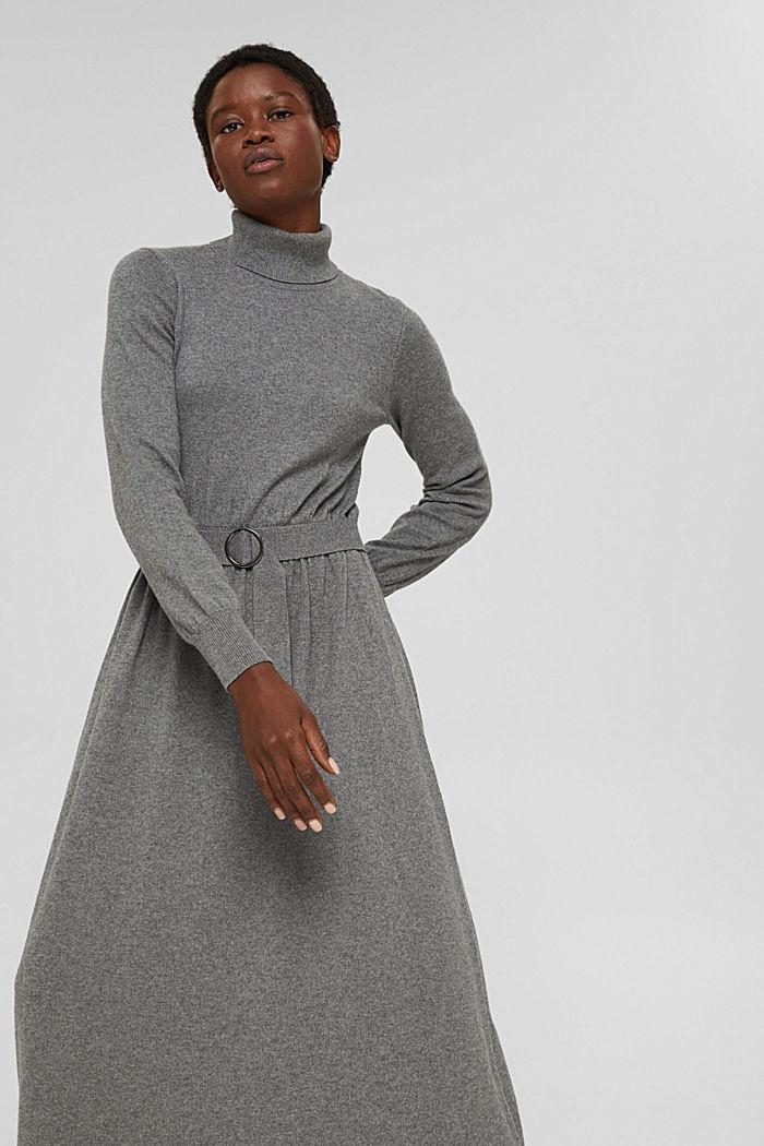À teneur en cachemire et en laine: la robe maxi longueur en fine maille, GUNMETAL, detail image number 5