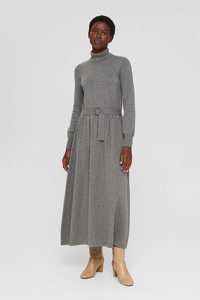 À teneur en cachemire et en laine: la robe maxi longueur en fine maille, GUNMETAL, detail image number 1