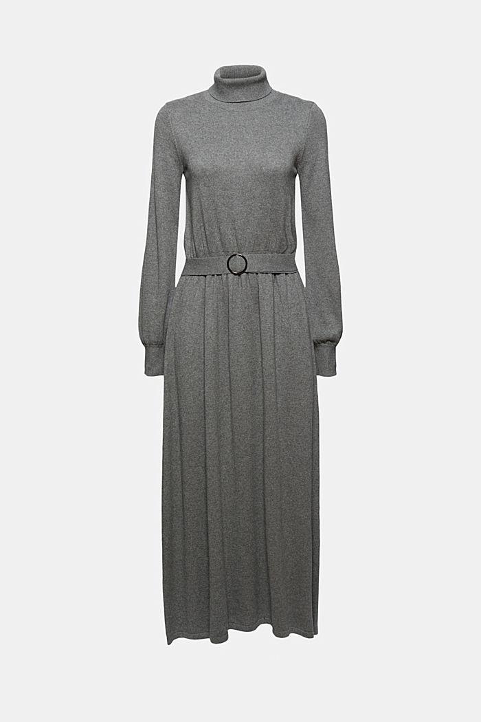 À teneur en cachemire et en laine: la robe maxi longueur en fine maille, GUNMETAL, detail image number 6