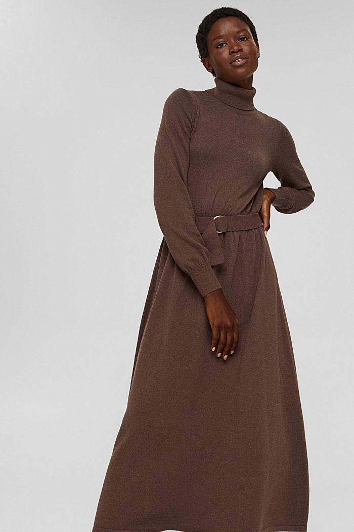 À teneur en cachemire et en laine: la robe maxi longueur en fine maille, NEW DARK BROWN, detail image number 0