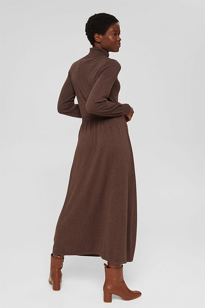 À teneur en cachemire et en laine: la robe maxi longueur en fine maille, NEW DARK BROWN, detail image number 2
