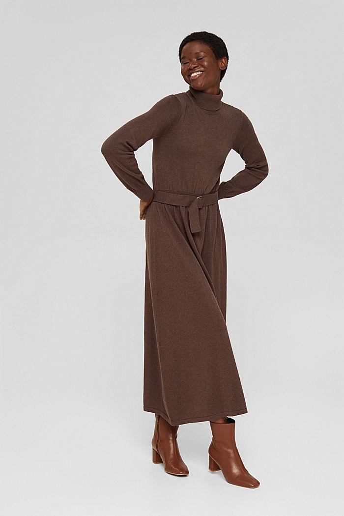 À teneur en cachemire et en laine: la robe maxi longueur en fine maille, NEW DARK BROWN, detail image number 7