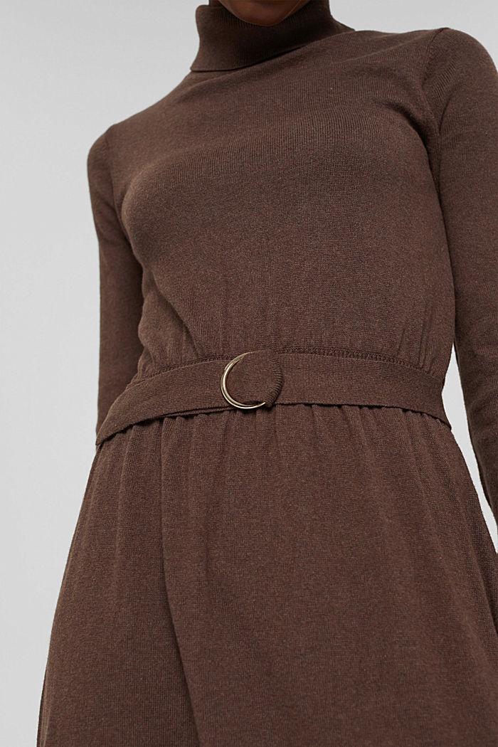 À teneur en cachemire et en laine: la robe maxi longueur en fine maille, NEW DARK BROWN, detail image number 3