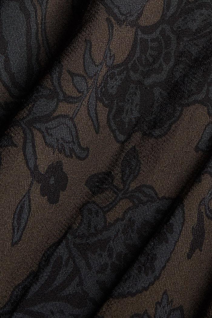 Florales Midikleid mit gesmokter Taille, DARK BROWN, detail image number 4