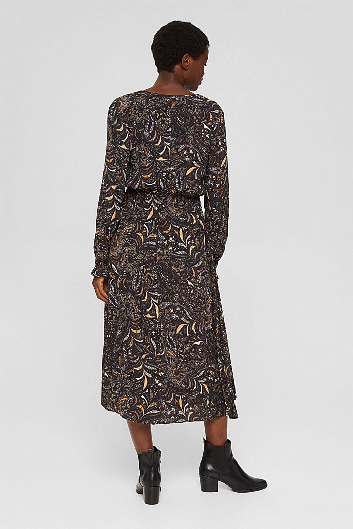 Gebloemde midi-jurk met gesmokte taille, BROWN, detail image number 2
