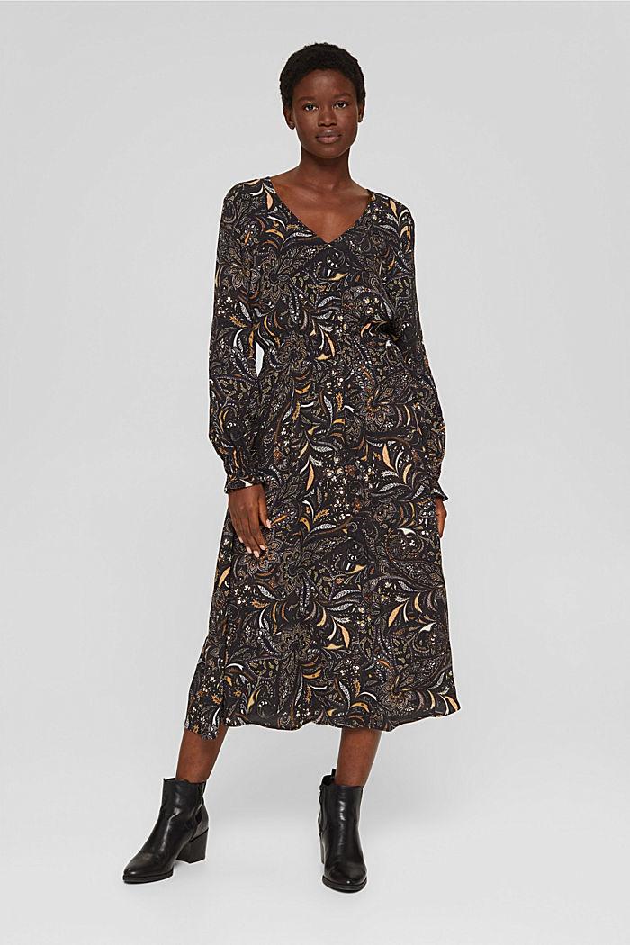 Gebloemde midi-jurk met gesmokte taille, BROWN, detail image number 1
