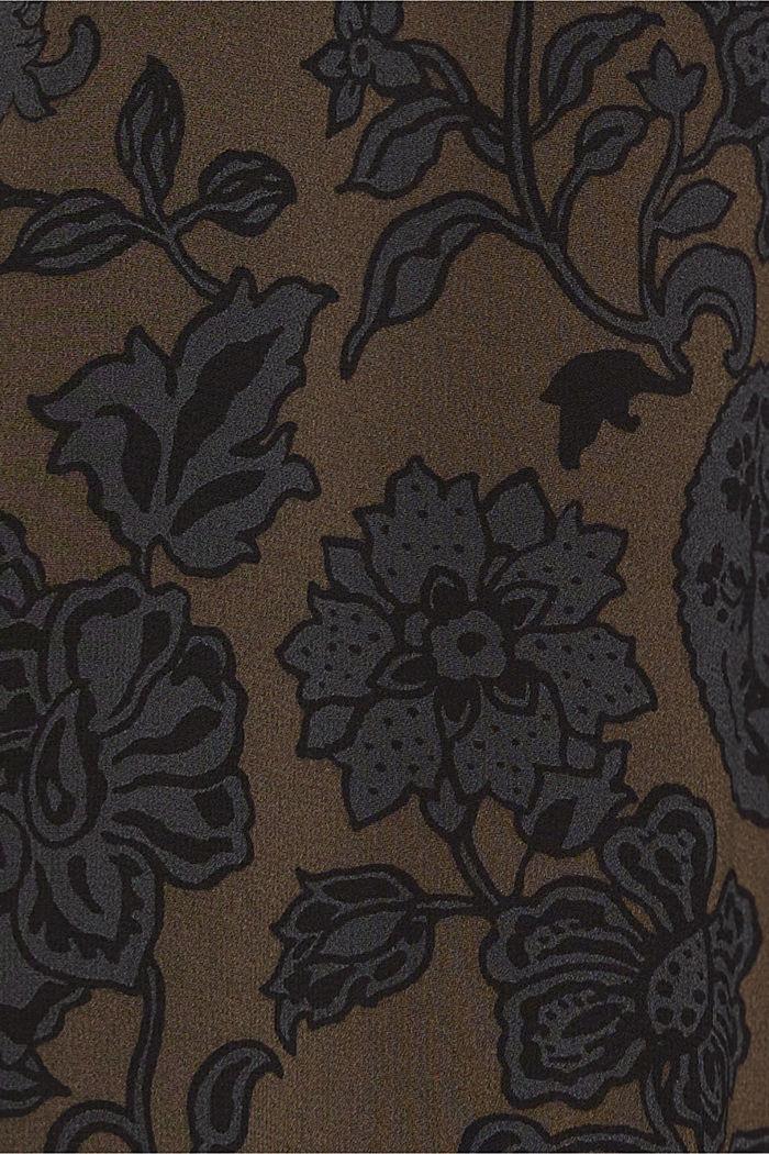 Chiffonkleid mit Schluppe, DARK BROWN, detail image number 4