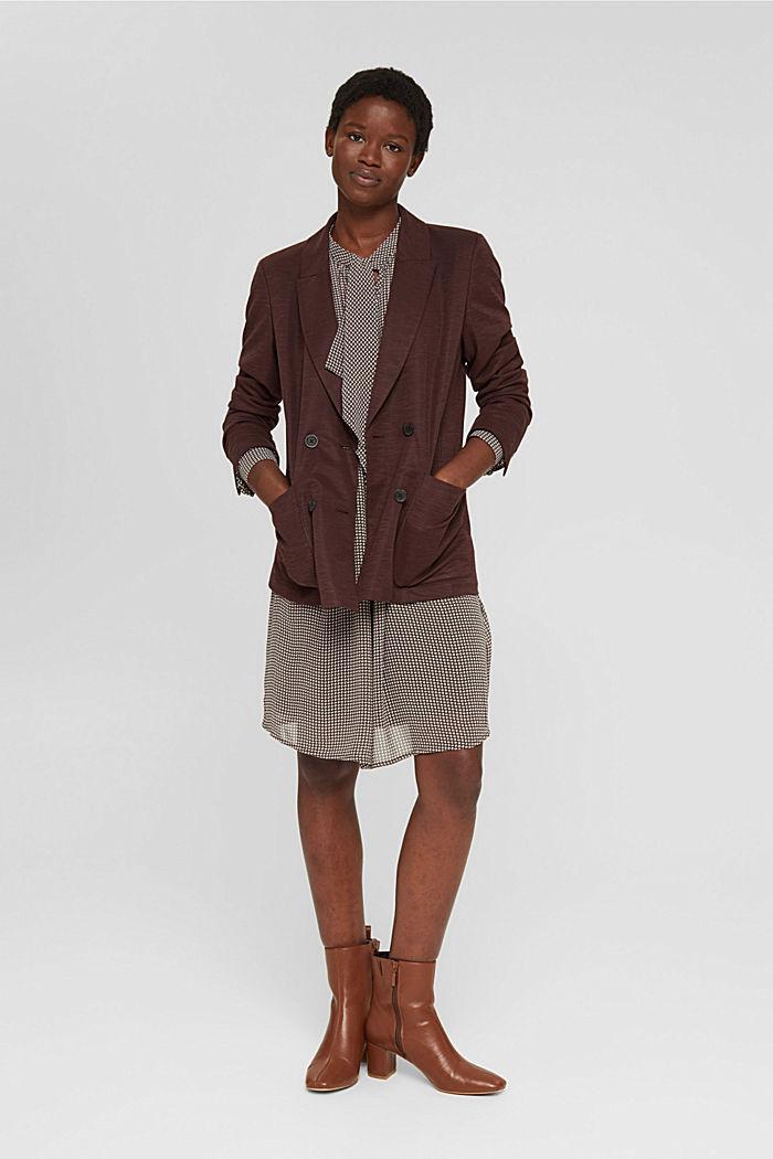 Vestido de gasa con lazada, BROWN, detail image number 1