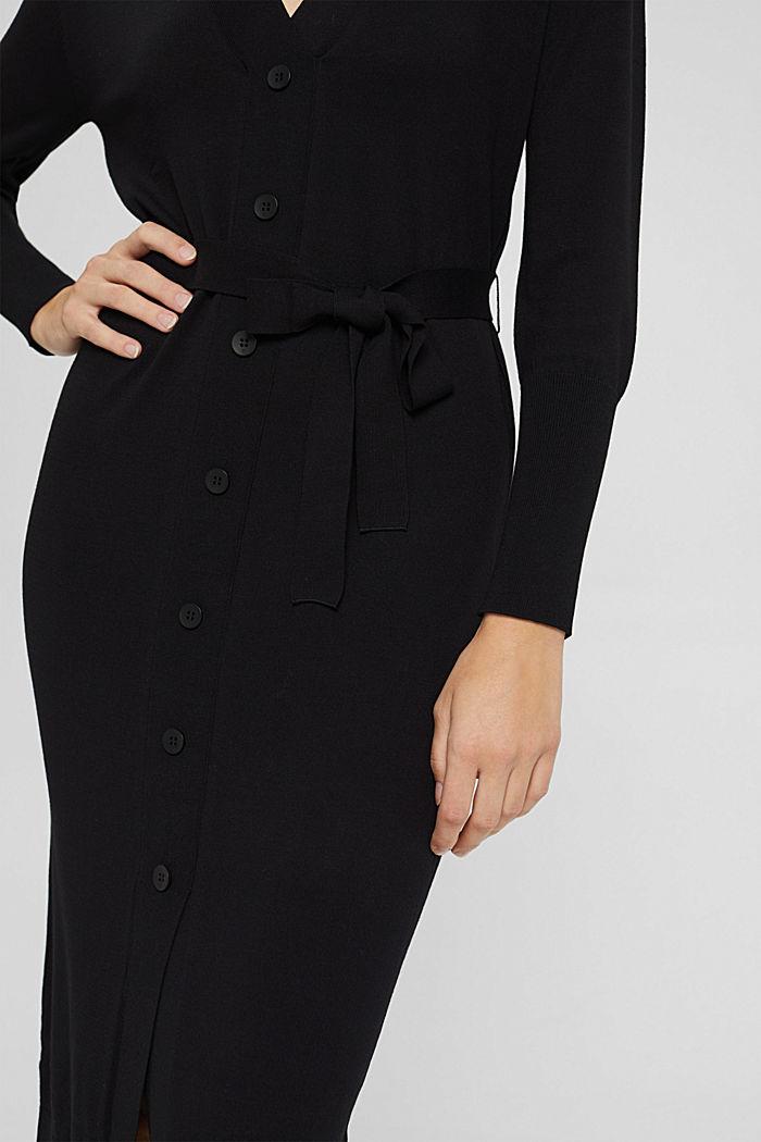 Strickkleid mit Gürtel und LENZING™ ECOVERO™, BLACK, detail image number 3