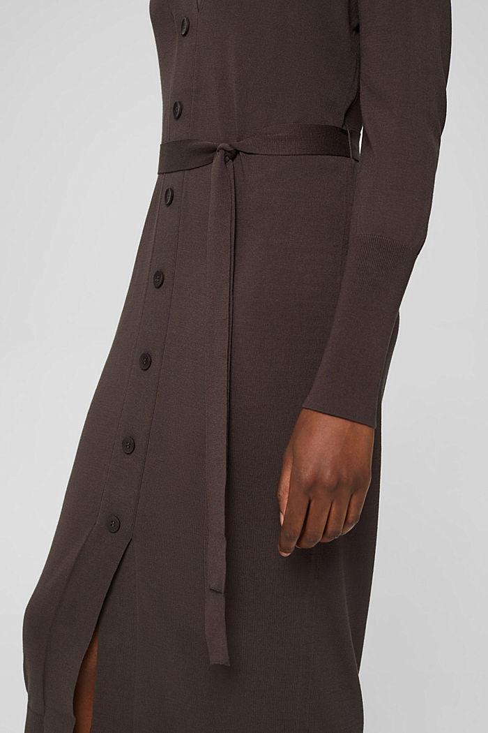 Strickkleid mit Gürtel und LENZING™ ECOVERO™, DARK BROWN, detail image number 3
