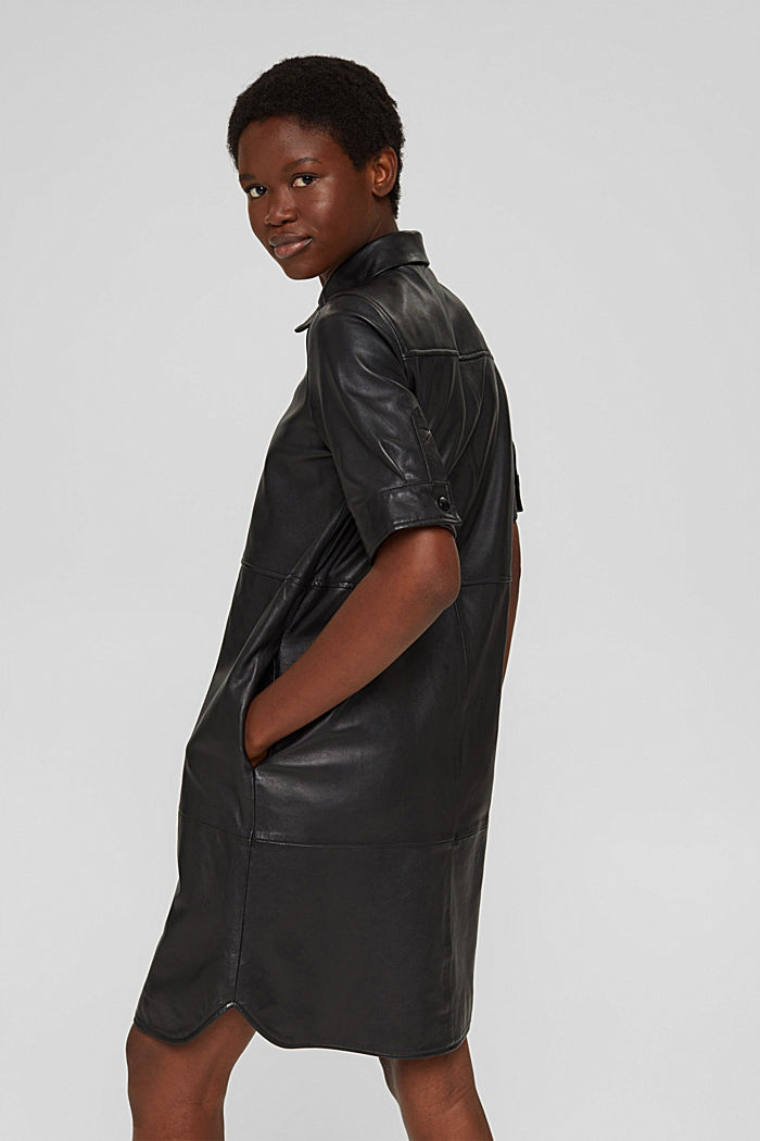 Blusenkleid aus 100% Lammleder, BLACK, detail image number 2