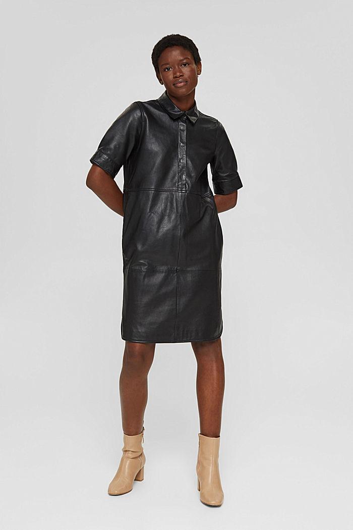 Blusenkleid aus 100% Lammleder, BLACK, detail image number 1
