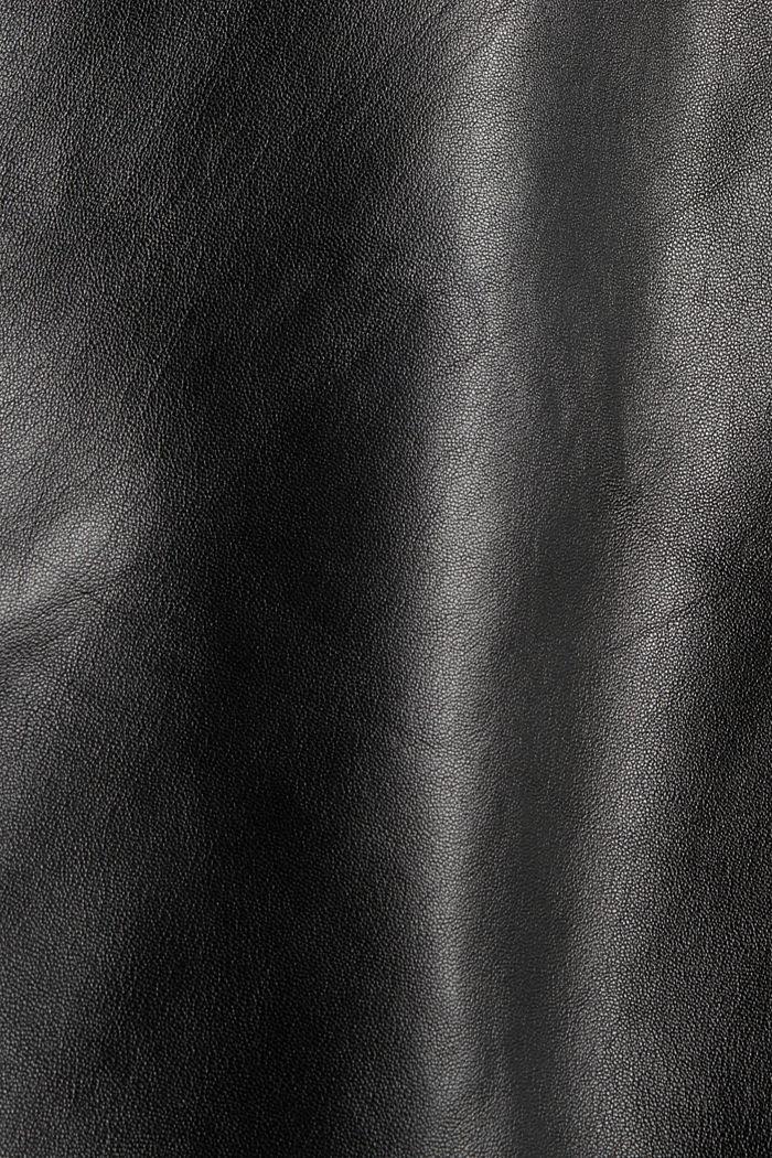 Blusenkleid aus 100% Lammleder, BLACK, detail image number 4