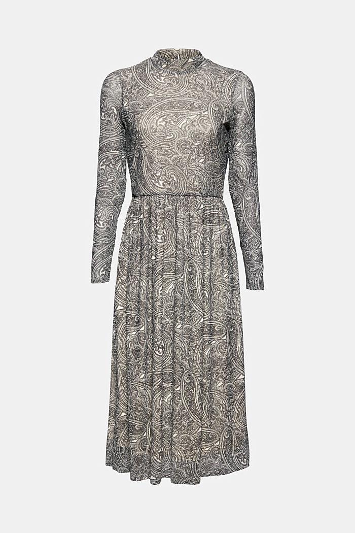 Uitlopende mesh jurk met print