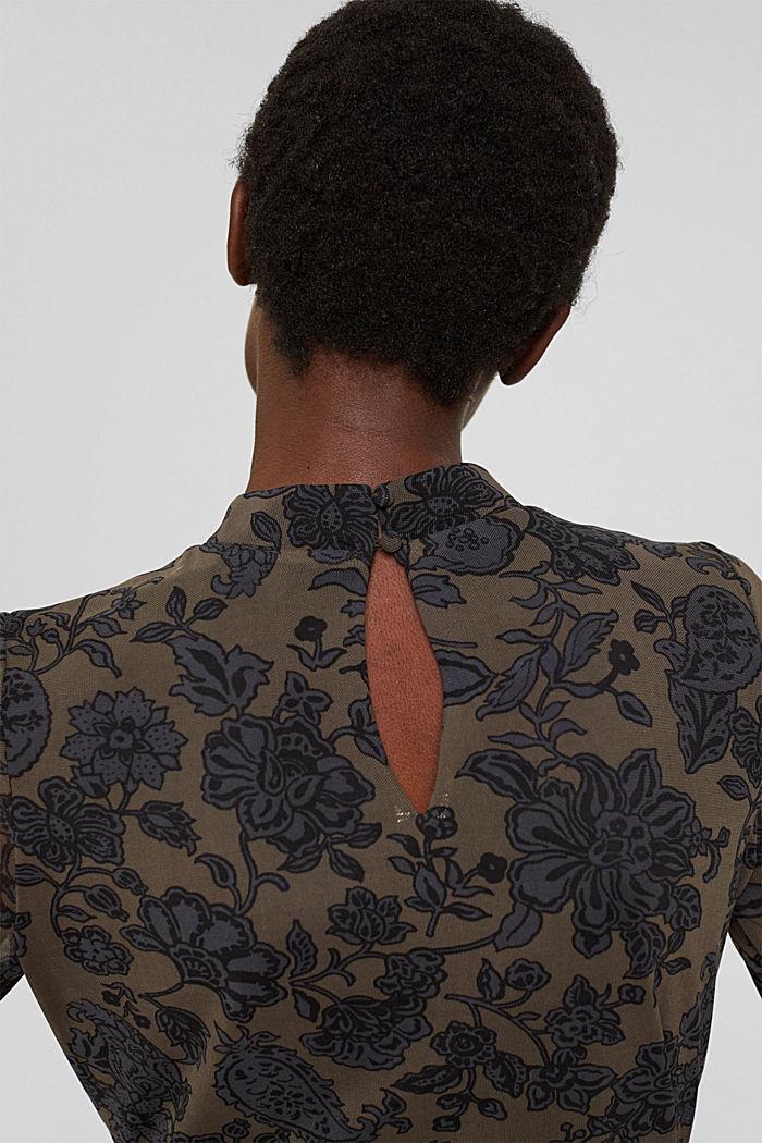 Ausgestelltes Meshkleid mit Print, DARK BROWN, detail image number 3