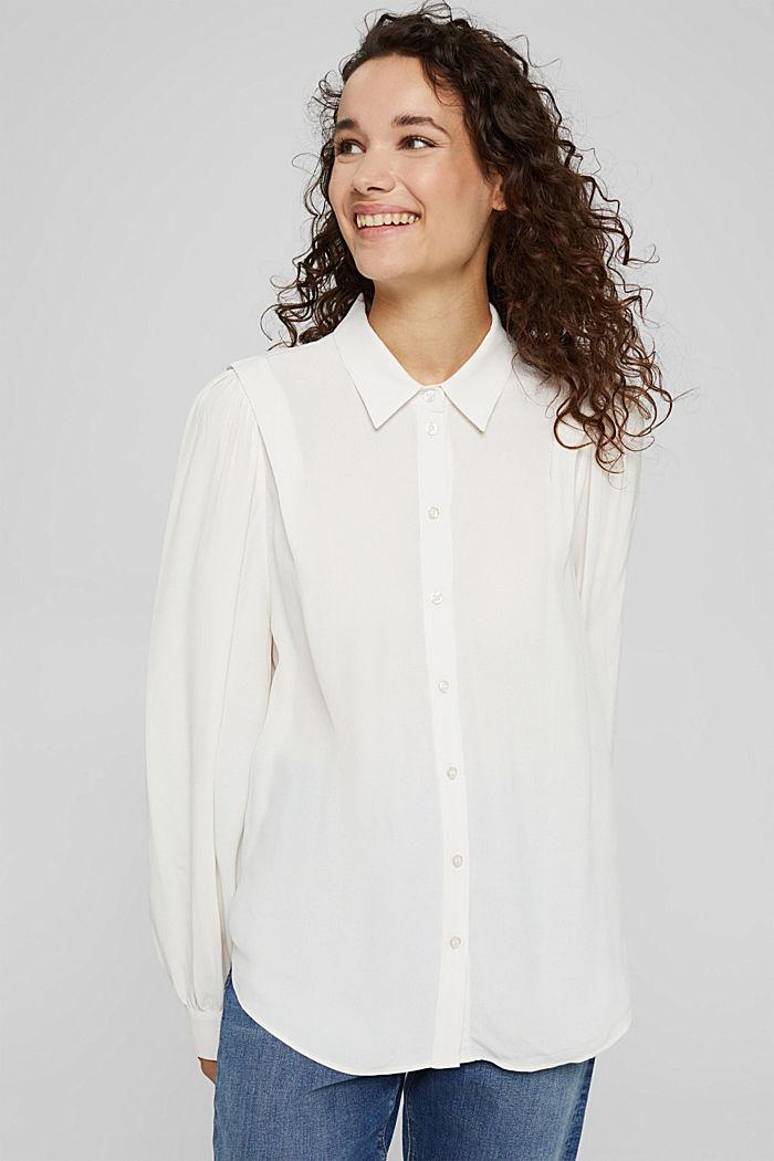 Bluse mit Ballonärmeln, LENZING™ ECOVERO™, OFF WHITE, detail image number 0