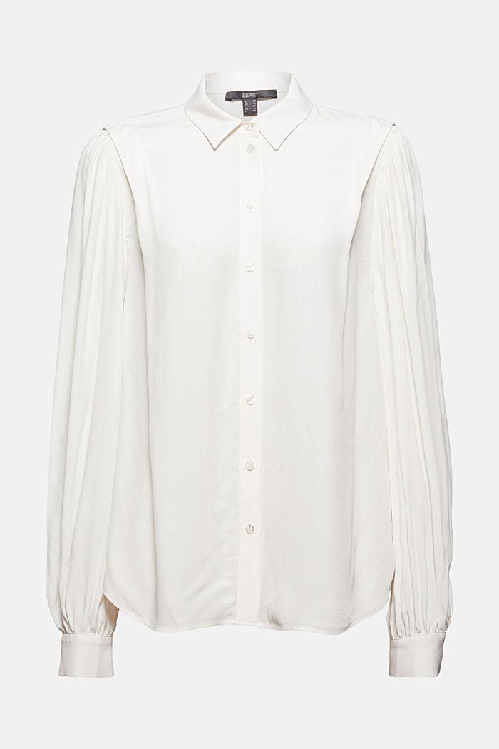 Bluse mit Ballonärmeln, LENZING™ ECOVERO™, OFF WHITE, detail image number 7